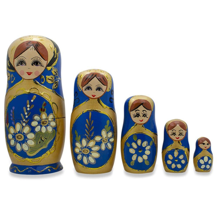 Set of 5 White Flowers on Blue Russian Nesting Dolls 6.5 Inches by BestPysanky