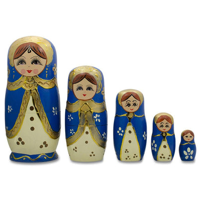 Set of 5 Blue Scarf and White Dress Girls Russian Nesting Dolls 6.5 Inches by BestPysanky