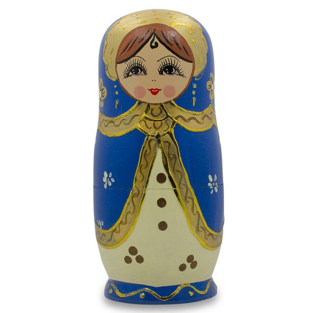 Buy Online Gift Shop Set of 5 Blue Scarf and White Dress Girls Russian Nesting Dolls 6.5 Inches