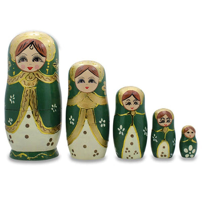 5 Girls in Green and Gold Scarf Russian Nesting Dolls 6.5 Inches by BestPysanky