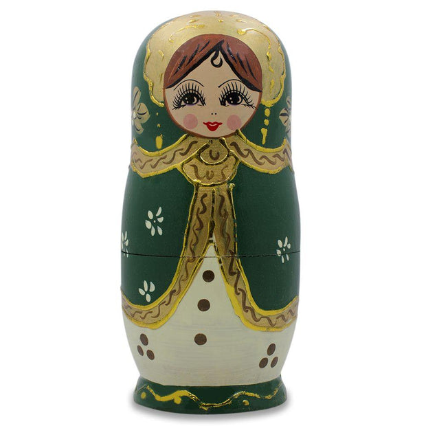 5 Girls in Green and Gold Scarf Russian Nesting Dolls 6.5 Inches