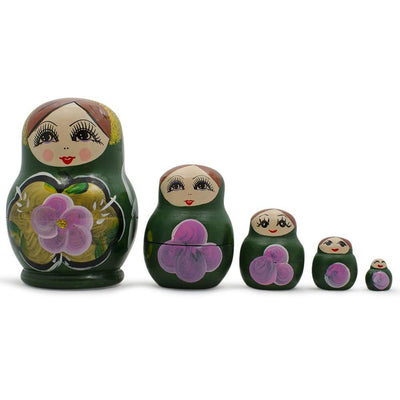 Set of Green Dress Russian Wooden Nested Dolls 3.5 Inches by BestPysanky