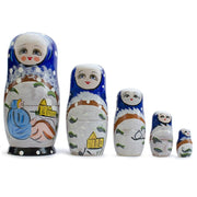 Set of 5 Winter Village Scene Russian Nesting Dolls Matryoshka 6.5 Inches by BestPysanky