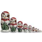 Set of 10 Snowmen with Christmas Tree Wooden Nesting Dolls 10.25 Inches by BestPysanky