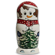 Set of 10 Snowmen with Christmas Tree Wooden Nesting Dolls 10.25 Inches