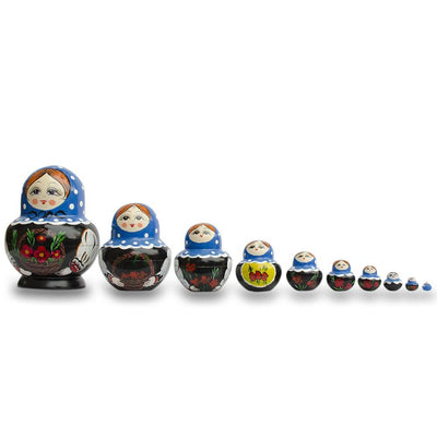 Set of 10 Flowers Basket Wooden Matryoshka Russian Nesting Dolls 7 Inches by BestPysanky