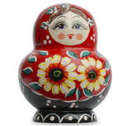 Set of 10 Daisy Flowers on Red Dress Russian Nesting Dolls Matryoshka 7 Inches