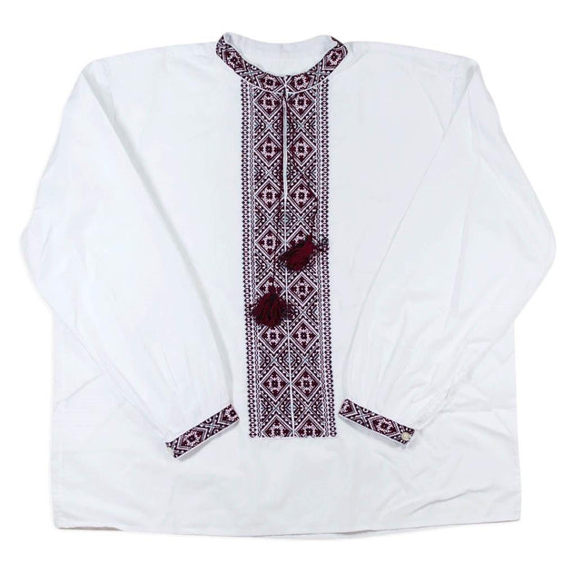 BestPysanky Gifts > Clothing > Men's Shirts - Ukrainian Hand Embroidered Men's Shirt L Size 42 EU