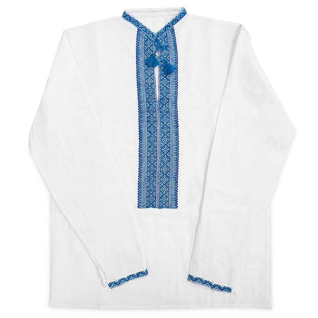 Blue Ukrainian Hand Embroidered Men's Shirt Vyshyvanka- Size 42 (EU) by BestPysanky