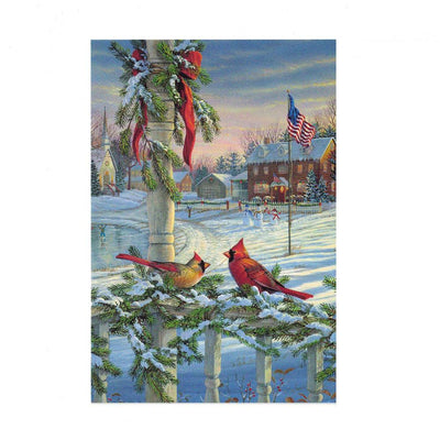 It's Christmas! Two Red Cardinals on Fence Greeting Card by BestPysanky