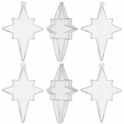 Set of 6 Clear Plastic Nativity Star Ornaments DIY Craft 3.5 Inches by BestPysanky