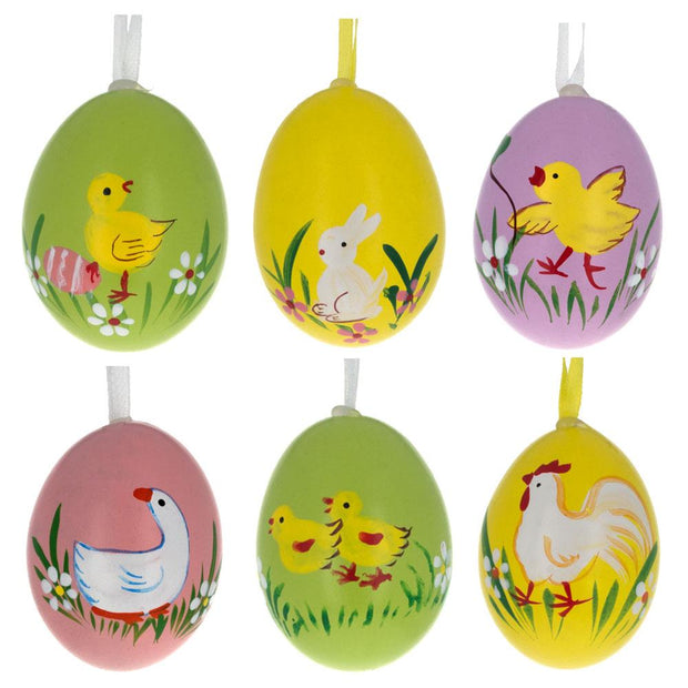 Set of 6 Real Eggshell Bunny, Chick and Goose Easter Egg Ornaments by BestPysanky