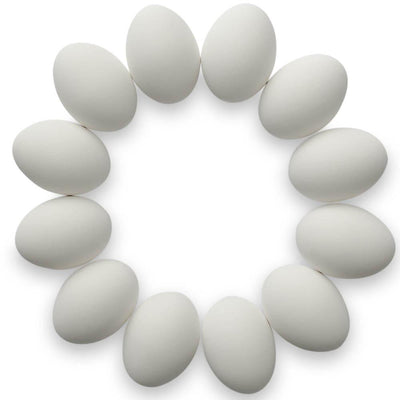 Set of 12 White Ceramic Hen Eggs 2.5 Inches by BestPysanky