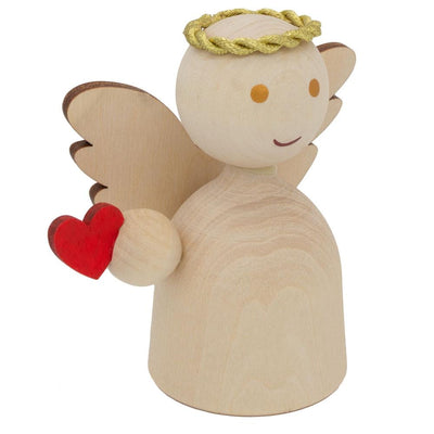 Unfinished Blank Wooden Angel Figurine Holding Heart 3 Inches by BestPysanky