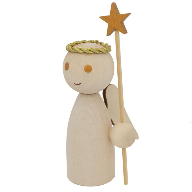 Unfinished Blank Wooden Angel Figurine Holding Star Wand 4.25 Inches by BestPysanky