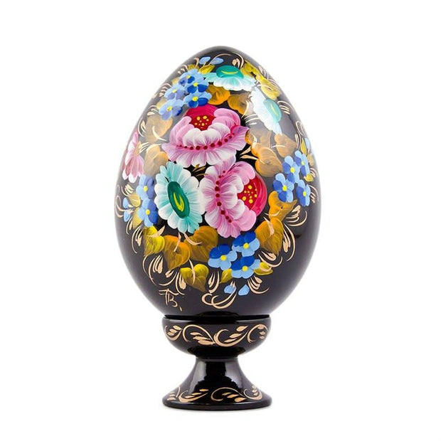 Multicolor Flowers Hi-Gloss Wooden Easter Egg by BestPysanky