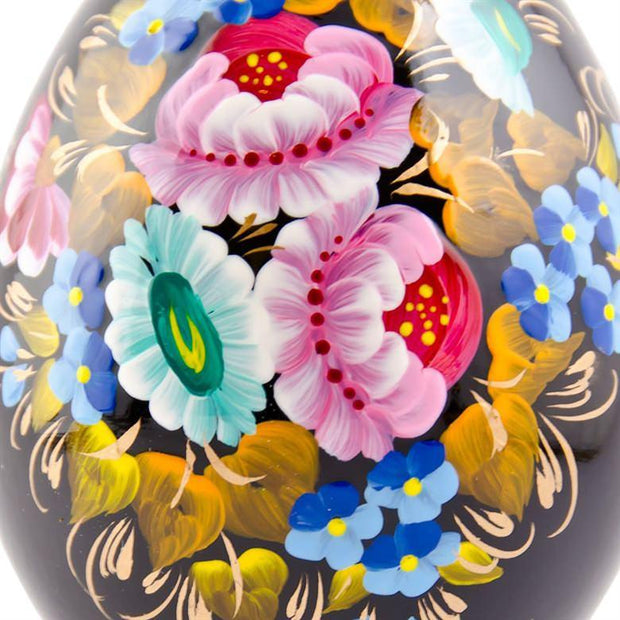 Multicolor Flowers Hi-Gloss Wooden Easter Egg