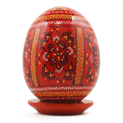Red Wooden Goose Easter Egg by BestPysanky