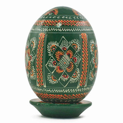 Large Green Wooden Ukrainian Easter Egg 3.5 Inches by BestPysanky