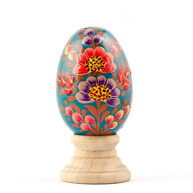 Azaleas Wooden Hand Painted Floral Easter Egg by BestPysanky