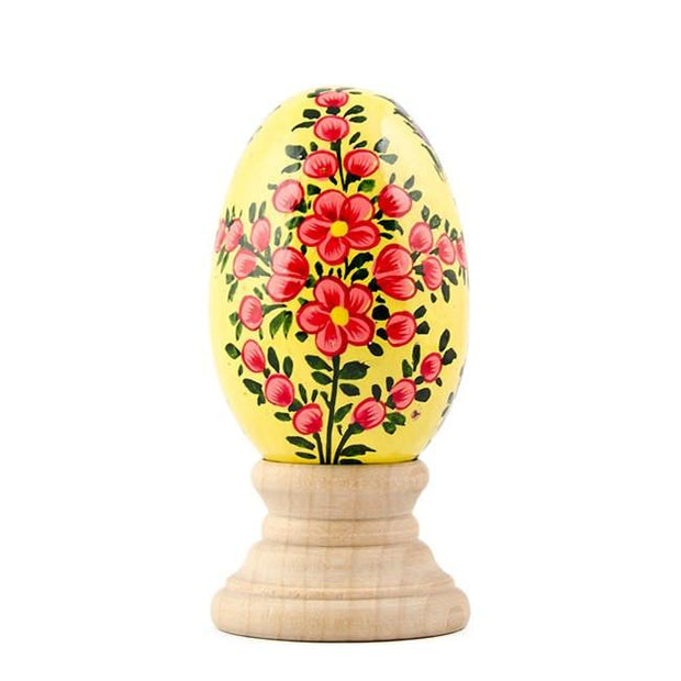 Lotus Flowers on Pastel Yellow Wooden Easter Egg by BestPysanky