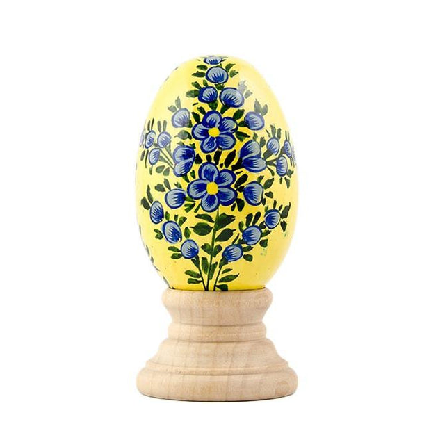Lotus Flowers on Pastel Yellow Wooden Easter Egg | BestPysanky