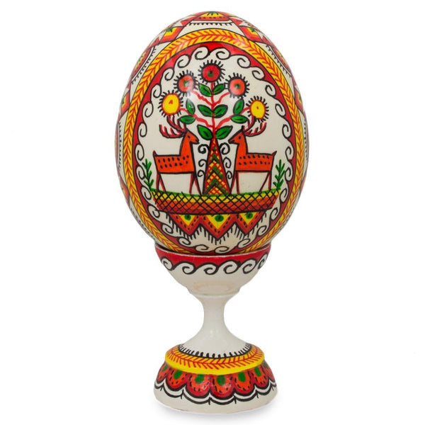 "BestPysanky Easter Eggs > Wooden Eggs > Singles - 3.75"" Ram and Elk Ukrainian Wooden Easter Egg Pysanky with Stand"