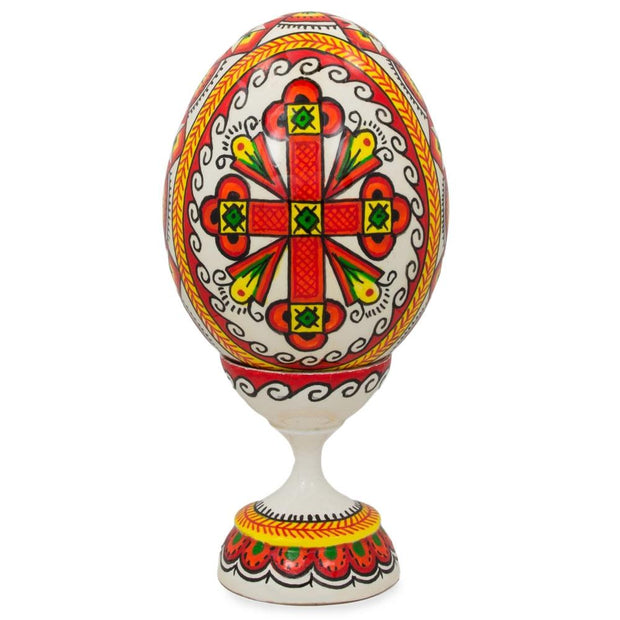 "BestPysanky Easter Eggs > Wooden Eggs > Singles - 3.75"" Cross Ukrainian Wooden Easter Egg"