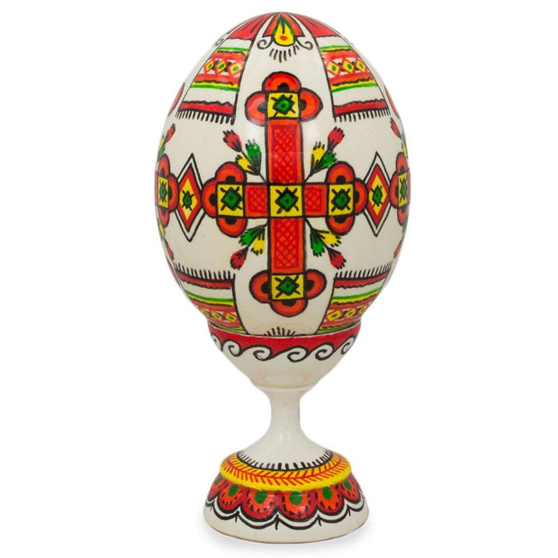 "BestPysanky Easter Eggs > Wooden Eggs > Singles - 3.75"" Religious Cross Ukrainian Wooden Easter Egg Pysanky with Stand"