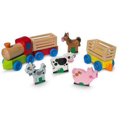 4 Farm Animals on Wooden Train with 2 Cars Toy Set by BestPysanky