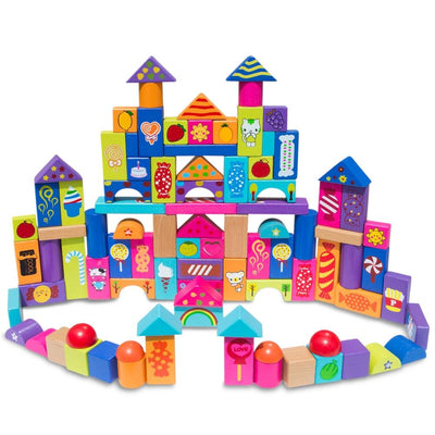 Set of 90 Colorful Wooden Building Blocks by BestPysanky
