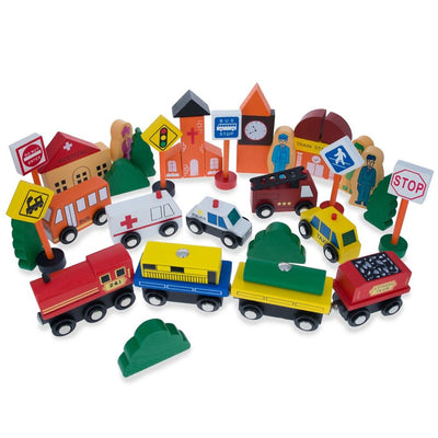 Set of 40 Pieces City Vehicles, Buildings, and Signs Wooden Blocks by BestPysanky