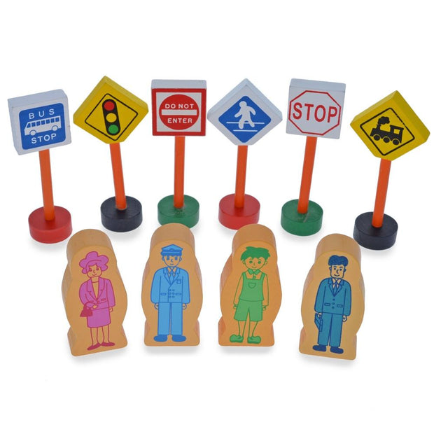 Buy Online Gift Shop Set of 40 Pieces City Vehicles, Buildings, and Signs Wooden Blocks