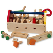 Construction Building Tools in Wooden Toolbox 18 Pieces