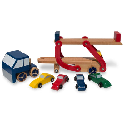 Set of Wooden Truck with Trailer and 4 Cars by BestPysanky