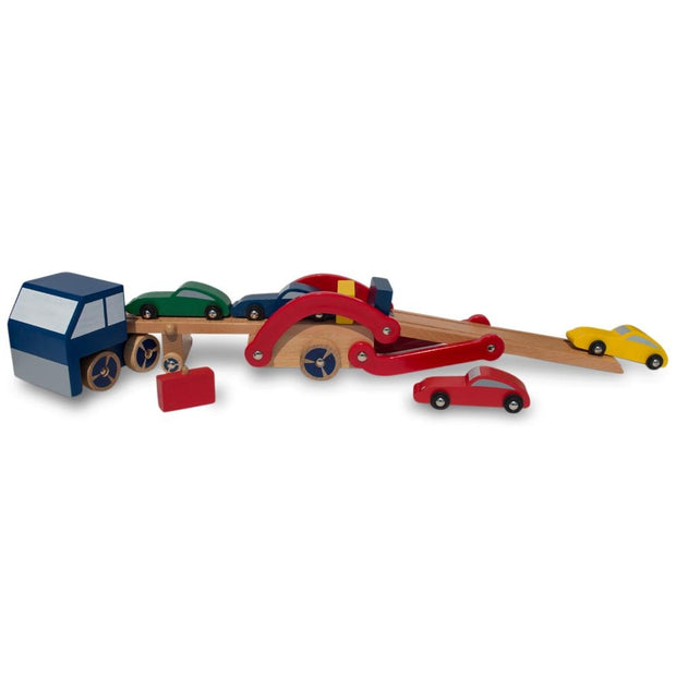 Buy Online Gift Shop Set of Wooden Truck with Trailer and 4 Cars