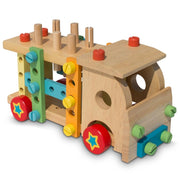 Set of Wooden Truck with Building Tools