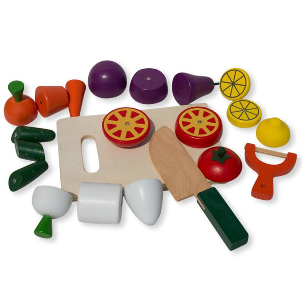 22 Pieces Magnetic Wooden Toy Kitchen Play Set with Vegetables & Knife by BestPysanky