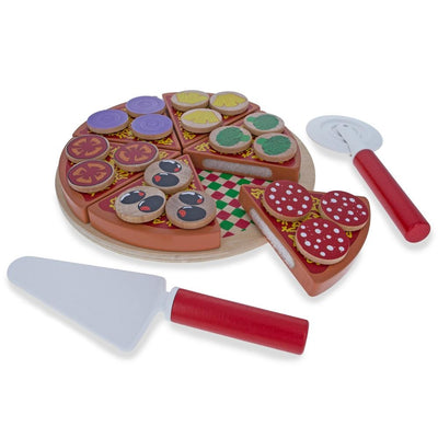 Set of 27 Wooden Pieces Make a Pizza with Toppings & Kitchen Tools by BestPysanky