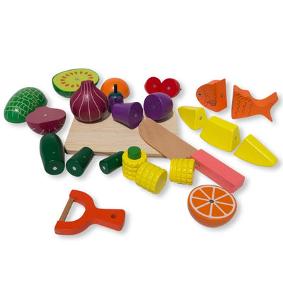 Set of 25 Magnetic Wooden Fruits and Vegetables Kitchen Play Set by BestPysanky