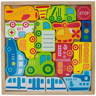 Cars, Ship, Plane, Helicopter and Sign Learning Wooden Blocks Puzzle by BestPysanky
