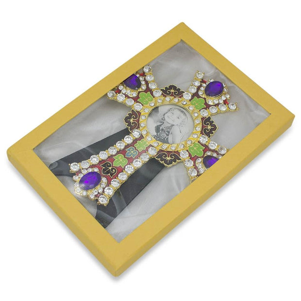 Jeweled Cross with Crystals Inspired Picture Frame 6 Inches