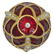 Golden Trellis Crimson Enamel Royal Inspired Russian Egg 4 Inches