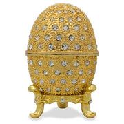 200 Crystals Gold Enamel Royal Inspired Russian Egg 2.5 Inches by BestPysanky
