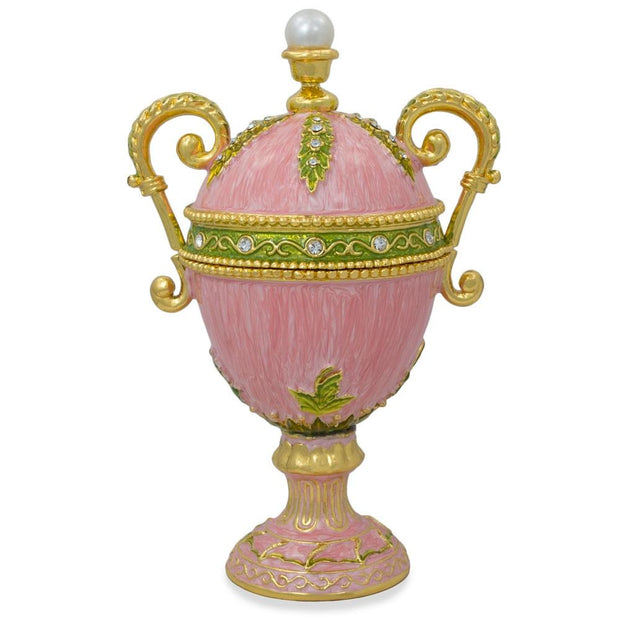 Pink Amphora Enameled Royal Inspired Russian Egg Figurine 5.5 Inches by BestPysanky