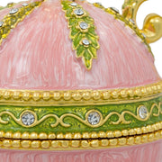Pink Amphora Enameled Royal Inspired Russian Egg Figurine 5.5 Inches