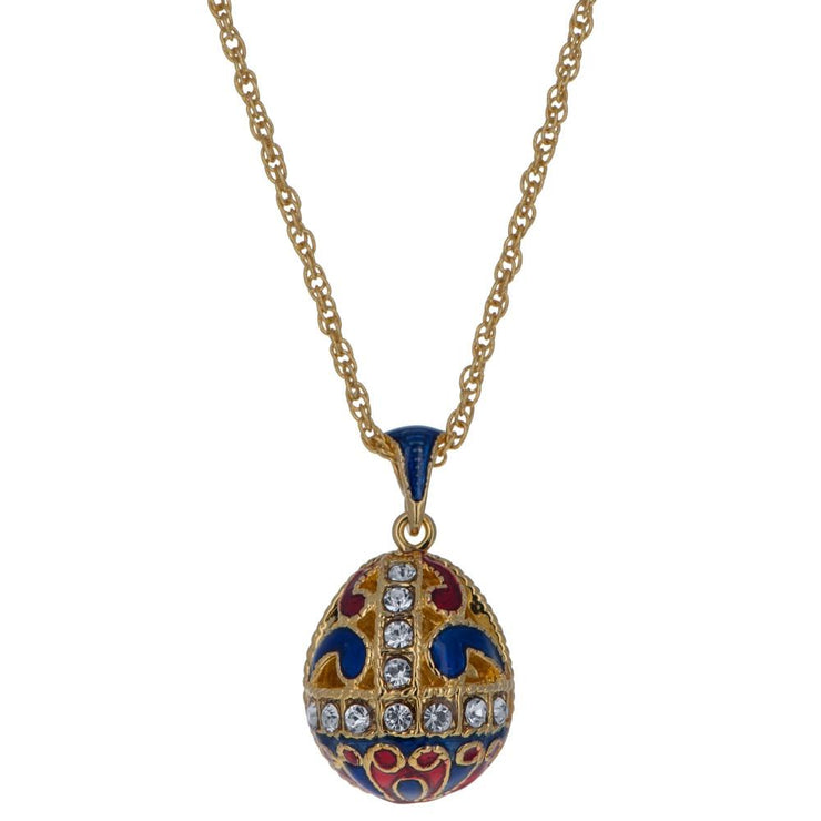 Gold Tone 22 Crystal Brass Blue Royal Egg Pendant Necklace 20 Inches by BestPysanky