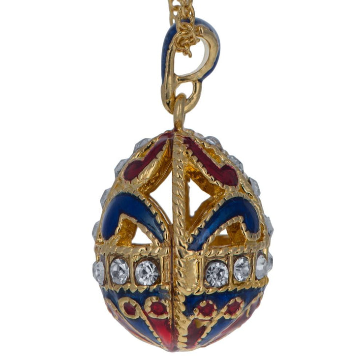 Buy Online Gift Shop Gold Tone 22 Crystal Brass Blue Royal Egg Pendant Necklace 20 Inches