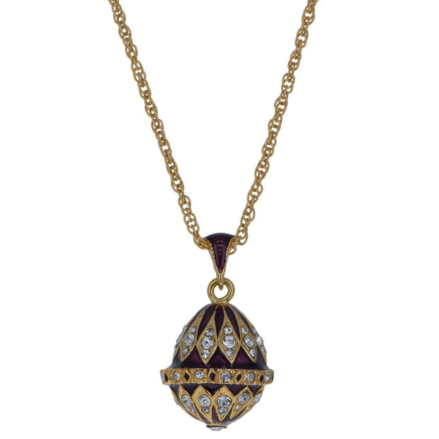 Purple Enamel 78 Crystals Brass Royal Egg Pendant Necklace 20 Inches by BestPysanky