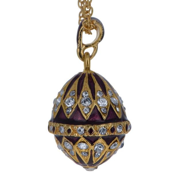 Purple Enamel 78 Crystals Brass Royal Egg Pendant Necklace 20 Inches